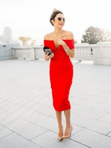 Bodycon Off the Shoulder Open Back Red Satin Tea Length Party Dresses,Wedding Guest Dresses Under 100
