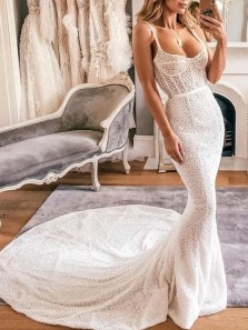 Mermaid Straps Sweetheart Ivory Lace Wedding Dresses with Train,Charming Bridal Gown