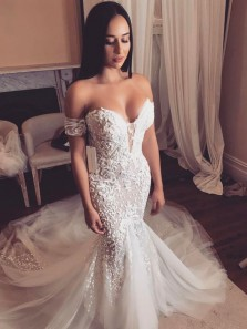 Glamorous Mermaid Sweetheart Open Back Ivory Lace Wedding Dresses with Train