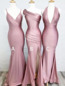 Simple Mermaid One Shoulder Blush Pink Elastic Satin Long Bridesmaid Dresses,Evening Party Dresses with Slit