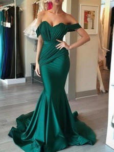 Stunning Mermaid Off the Shoulder Green Elastic Satin Long Prom Dresses,Evening Party Dresses