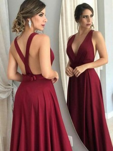 Elegant A-Line V Neck Criss Cross Back Burgundy Satin Long Prom Dresses with Bow,Formal Party Dresses
