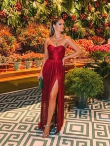 Chic A-Line Sweetheart Open Back Dark Red Chiffon Long Prom Dresses with High Split,Evening Party Dresses