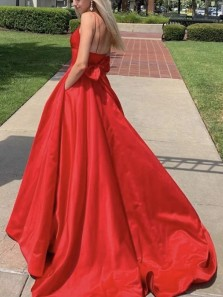 Stunning A-Line V Neck Open Back Red Satin Long Prom Dresses with Pockets,Formal Evening Party Dresses
