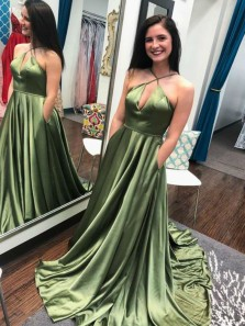 Unique A-Line Halter Open Back Olive green Satin Long Prom Dresses with Pockets Train,Formal Party Dresses