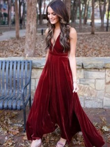 Vintage A-Line V Neck Open Back Burgundy Velvet Long Prom Dresses,Formal Party Dresses