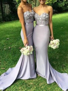 Mermaid Sweetheart Open Back Grey Purple Satin Long Bridesmaid Dresses with Appliques