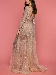 Elegant A-Line Boat Neck Open Back Long Sleeve Champagne Sequins Beaded Long Prom Dresses,Formal Evening Party Dresses
