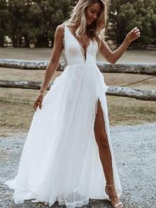 Boho A-Line V Neck Backless White Lace Beach Wedding Dresses