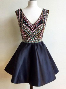 Unique A-Line V Neck Open Back Navy Blue Satin Short Homecoming Dresses with Beaded,Short Prom Dresses