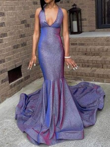 Shiny Mermaid Halter Open Back Sequin Long Prom Dresses with Train