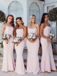 Modest Mermaid Scoop Neck Strapless Pink Elastic Satin Long Bridesmaid Dresses