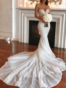 Luxurious Mermaid Sweethart Tulle Sequins Long Wedding Dresses with Train