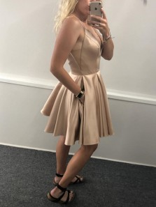 Simple A-Line V Neck Gold Satin Short Homecoming Dresses with Pockets Under 100