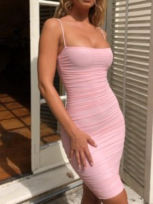 Sexy Bodycon Low Cut Pink Short Tight Homecoming Dresses,Evening Party Dresses
