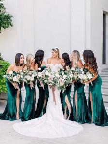 Charming Mermaid Sweetheart Green Velvet Long Bridesamid Dresses with High Split