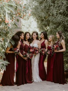 Elegant Burgundy Chiffon 6 Styles Long Boho Bridesmaid Dresses Under 100
