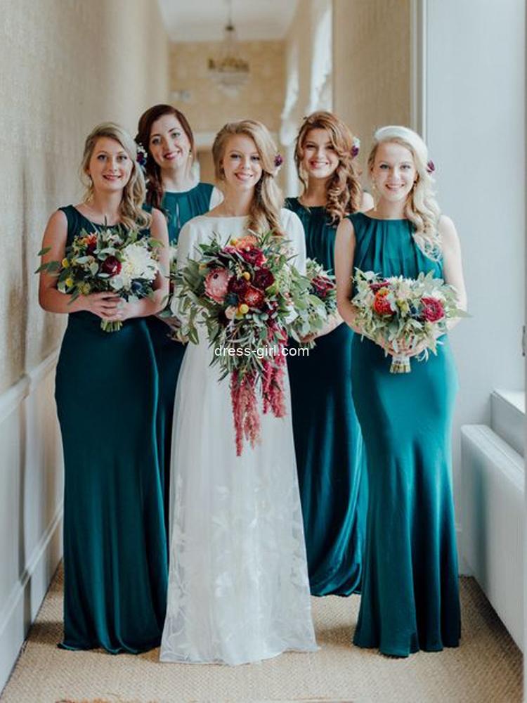 Charming Sheath Round Neck Hunter Green Long Bridesmaid Dresses