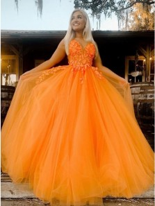 Fairy A-Line V Neck Spaghetti Straps Orange Tulle Long Prom Evening Dresses with Appliques