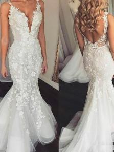 Elegant Mermaid V Neck Open Back White Lace Wedding Dresses,2020 Bridal Gown