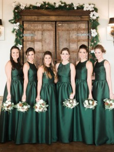 Elegant A-Line Round Neck Hunter Green Satin Floor Length Bridesmaid Dresses