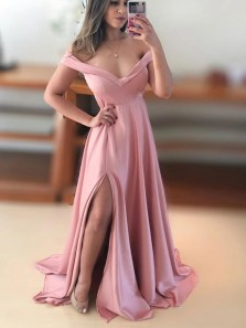 Charming A-Line Off the Shoulder Pink Satin Long Prom Evening Dresses with Split