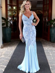Chic Mermaid Spaghetti Straps Sky Blue Satin Long Prom Dresses with Appliques,Elegant Formal Party Dresses