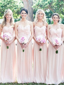 Elegant A-Line Halter Open Back Pink Chiffon Long Bridesmaid Dresses with Ruffled