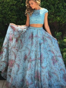 Gorgeous Two Piece Boat Neck Cap Sleeves Floral Printed Chiffon Prom Dresses with Lace Top