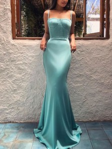 Charming Mermaid Sweetheart Open Back Green Satin Long Prom Dresses,Evening Party Dresses 2019