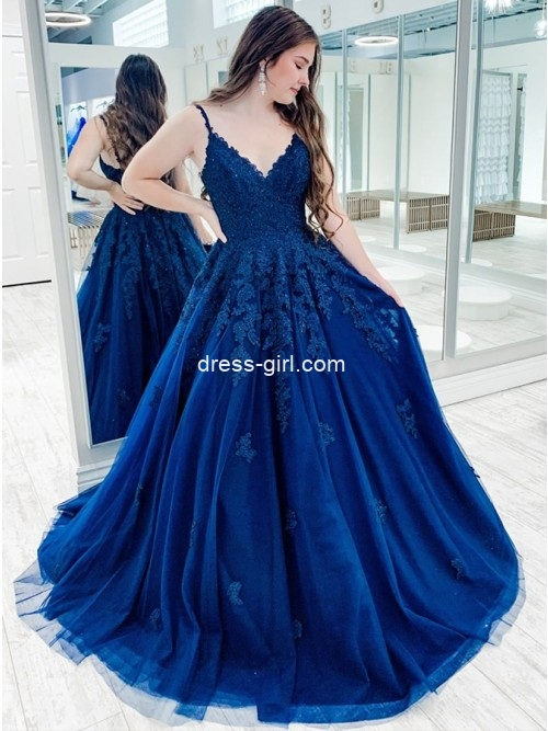Elegant A-Line V Neck Royal Blue Tulle Long Prom Evening Dresses with Lace Appliques