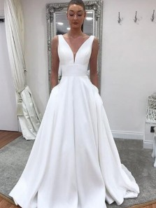 Elegant A-Line V Neck White Satin Long Prom Dresses,Simple Wedding Dresses with Pockets