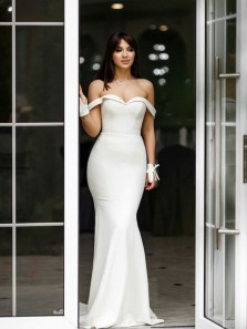Mermaid Off the Shoulder Ivory Satin Long Prom Evening Dresses Formal Party Gowns