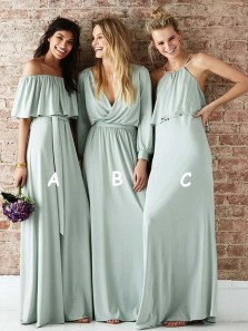 A-Line 3 Styles Mint Chiffon Long Spring Bridesmaid Dresses Under 100