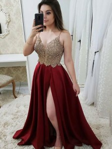 Elegant A-Line Spaghetti Straps Open Back Burgundy Satin Long Prom Dresses with Lace Split,Evening Party Dresses