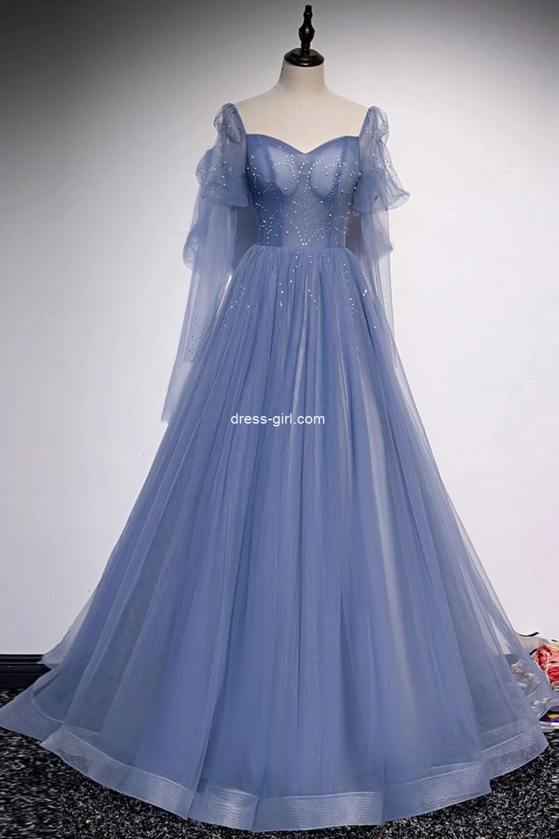 Princess A-Line Sweetheart Long Sleeves Tulle Long Prom Dresses with Beading