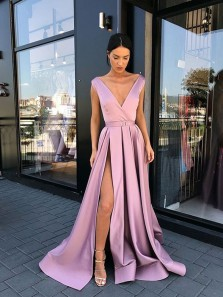 Charming A Line V Neck Open Back Pink Split Long Prom Dresses, Elegant Evening Dresses