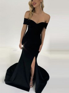 Simple Mermaid Off the Shoulder Open Back Black Elastic Satin Long Prom Dresses with Split,Evening Party Dresses