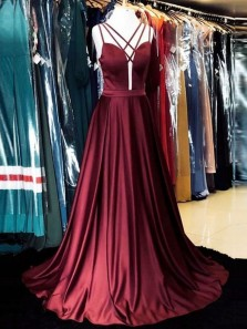 Gorgeous A-Line Spaghetti Straps Open Back Burgundy Satin Long Prom Dresses with Pockets,Evening Party Dresses Under 100