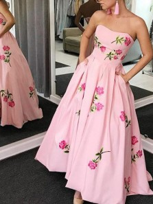 A-Line Sweetheart Open Back Floral Pink Satin Ankle Length Prom Dresses,Cocktail Party Dresses