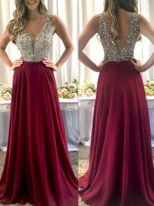 Elegant A-Line V Neck Open Back Burgundy Chiffon Long Prom Dresses with Beading,Evening Party Dresses