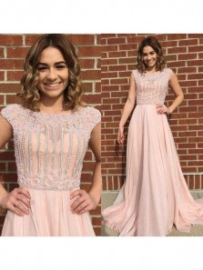 Gorgeous A Line Brush Pink Cap Sleeve Chiffon Beaded Long Prom Dresses