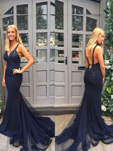Chic Mermaid V Neck Backless Navy Blue Tulle Long Prom Dresses with Sequins,Evening Party Gown
