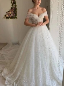 Glamorous A-Line Off the Shoulder Ivory Tulle Wedding Dresses with Pearls