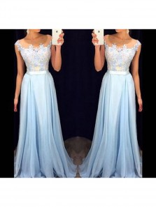Elegant Light Blue Lace A-line Long Prom Dress,Formal Dresses