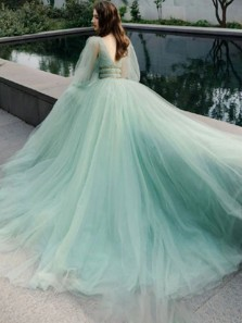 Gorgeous A-Line V Neck Long Sleeves Mint Tulle Long Prom Evening Dresses,Formal Party Dresses