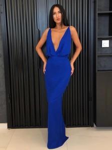 Sexy Deep V Neck Royal Blue Elastic Satin Mermaid Long Prom Dresses,Charming Evening Party Dress DG9012004