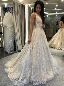 Charming A-Line V Neck Backless Champagne Lace Long Prom Dresses,Formal Graduation Dance Dress