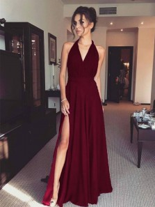 Simple A-Line Halter V Neck Open Back Burgundy Chiffon Long Prom Dresses with Side Slit,Evening Party Dresses Under 100