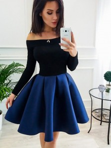 Sweet A-Line Off the Shoulder Open Back Black and Navy Satin Short Homecoming Dresses,Short Prom Dresses Under 100